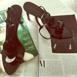 Miu Miu Patent Confetti Disc T-strap Sandals 38.5