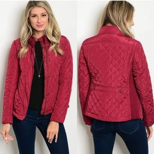 Burgundy Quilted Jacket 🍃 🍁