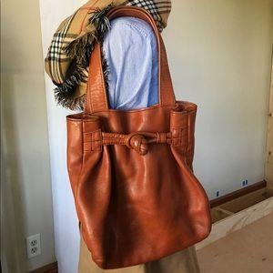 Cognac rust brown genuine leather tote bag purse