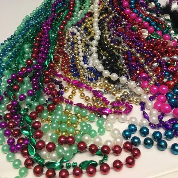 Bead Tie Red Mardi Gras Halloween Costume Party Beads