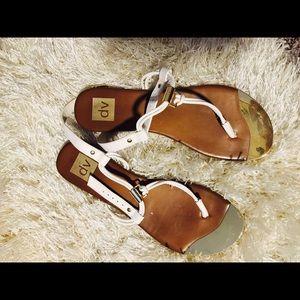 BUNDLE White sandals size 9.5  &black sandals 8.5