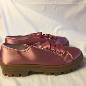 TopShop Clover pink satin fashion sneakers 8.5 new