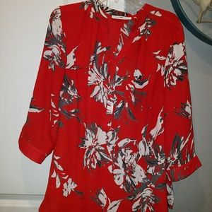 Tops - Women  Plus Sheer Red Blouse with Flowers