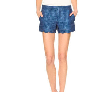 Club Monaco Amber Scallop Shorts Blue Jacquard