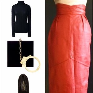 Vintage Leather Pencil Midi Skirt