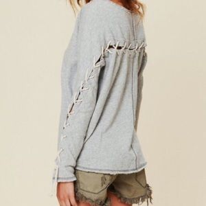 Free People Lace up pullover oversized sweater