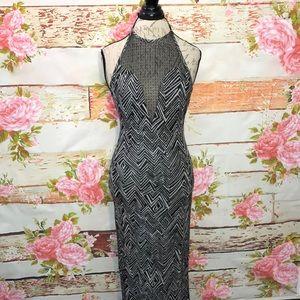 Bebe Mesh Neck Halter Maxi Dress