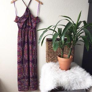 Purple Boho Kaleidoscope Print Halter Maxi Dress
