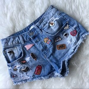 Zara patch denim shorts