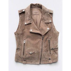 BLANKNYC Suede Leather Moto Vest Sz L