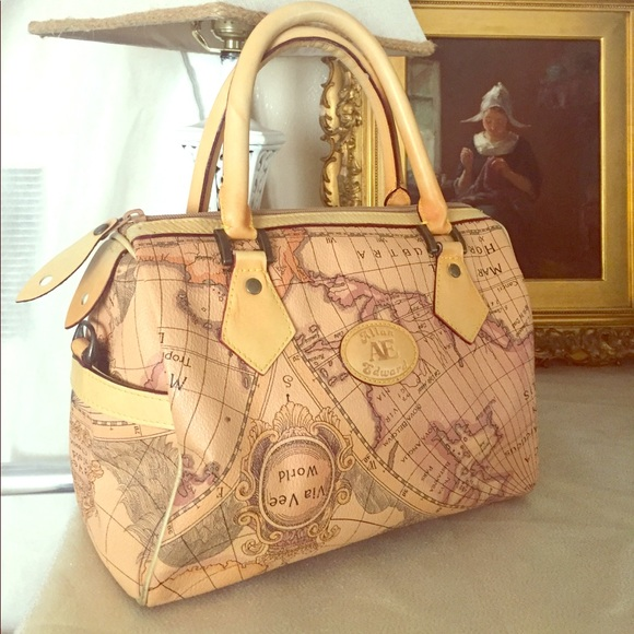 Rare Vintage Allan Edward World Map Satchel on map shoes, map luggage, map boots, map crossbody, map skirt, map phone case, map jacket, map scarf, map white, map trunk, map suitcase, map wallet, map sweater,