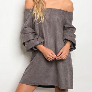 OFF SHOULDER SUEDE DRESS
