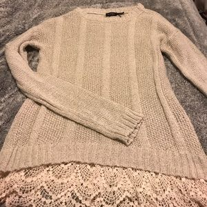 Tan sweater with lace insert at bottom