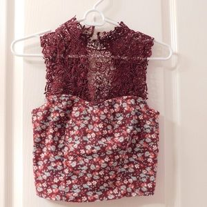 Tops - lace and floral cropped blouse
