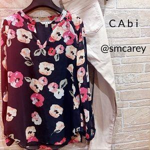 EUC CAbi Navy floral tunic S
