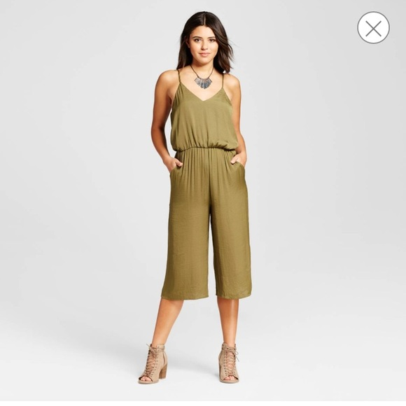 b03d49438fe0 NWT XHILARATION SILK COULOTTE JUMPSUIT