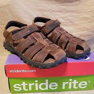Stride Rite boys Hudson brown leather sandals 11.5