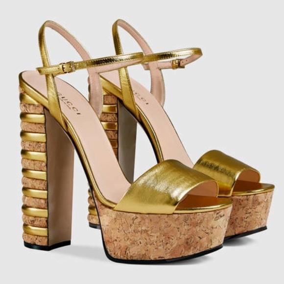 9b0d1d02058 Gucci Metallic Leather Cork Platform Sandals EU 37