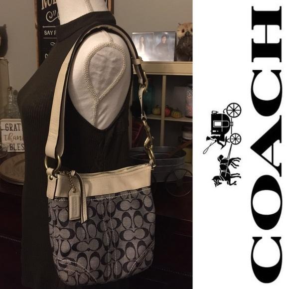 368aa19be378 Coach Handbags - Coach Denim and Ivory leather bag