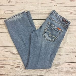 -Vigoss- Faded Flare Jeans Distressed Destroyed