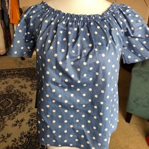 Tops - Polka dot e&m off the shoulder blouse