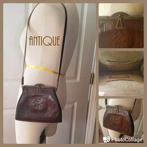 ANTIQUE Art Deco Hand Tooled Leather Purse
