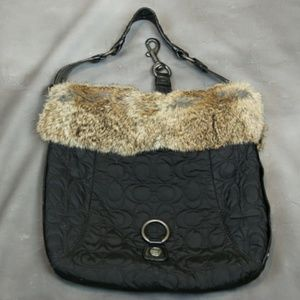 Coach leather and fur quilted nylon purse