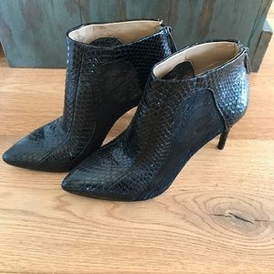 BCBG Snakeskin and Lace Booties