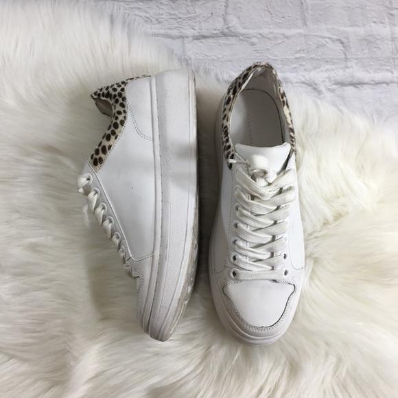 606974d7ef6 ZARA White Leopard Print Platform Sneakers. M 59dd3fc47fab3ac3e702566c