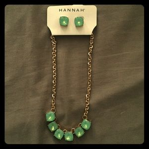 Hannah Blue Green Bauble Earrings and Necklace Set