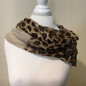 Leopard print infinity scarf with beige accent