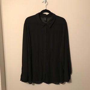 Plus Size Torrid 3 black striped button up shirt