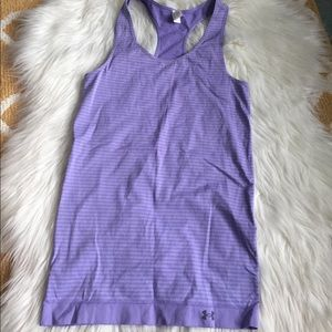 purple striped under armour tank top size S