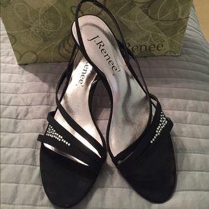 Beautiful Black J. Renee Sandals w/ Crystals