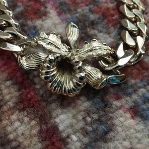 Givenchy gold chain flower necklace