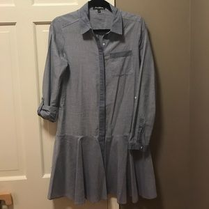 Chambray & stripped fit & flare dress Sam Edelman