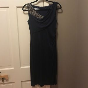 Stunning navy Kay Unger dress with beaded detail