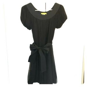 Catherine Malandrino Black Tie-Belt Dress