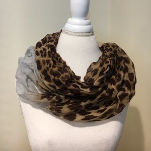 New Leopard print infinity scarf with light blue