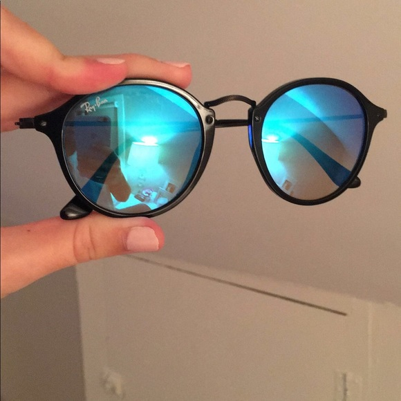 7146ae5a8 Ray-Ban Accessories | Rayban Round Fleck Flash Lenses Gradient Blue ...
