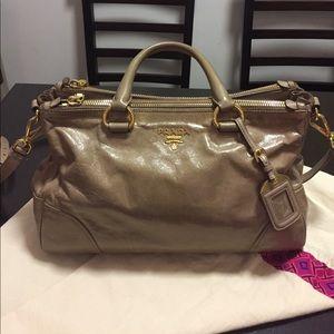 Auth shiny leather Prada tote bag