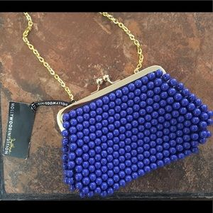 Beaded royal blue & gold  purse