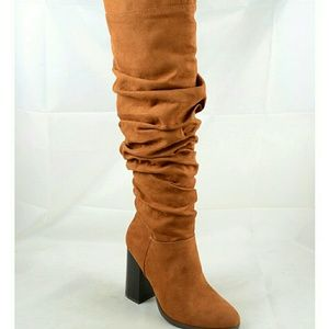 Shoes - Rutched Scrunch Over the Knees Tall Boots