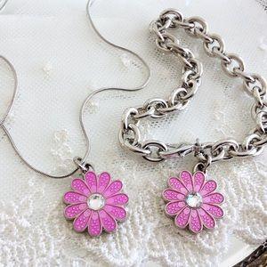 SET! Coach Spring Pink Daisy Necklace & Bracelet