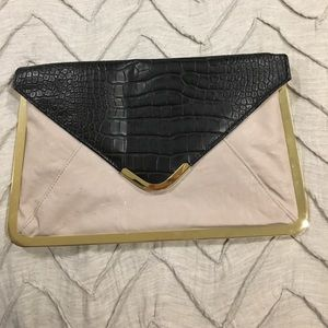 Asos Grey and Black Clutch with Gold Clasp