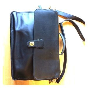 Coach Large Black Leather Messenger Bag