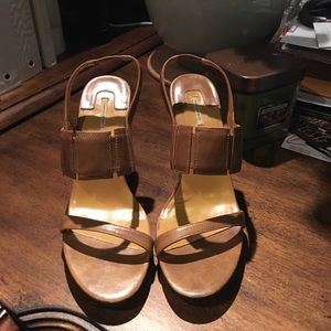 Wood elongated heel with open toe strap