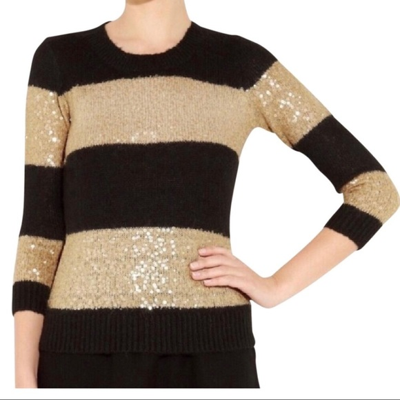 62% off J. Crew Sweaters - J. Crew Sequin Stripe Sequin Gold/Black ...