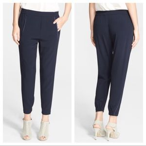 Vince Navy Piped Wrap Satin Seam pants