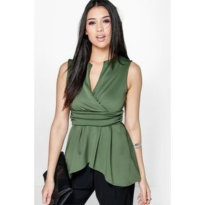 Boohoo Night Tina Dip Back Wrap Front Peplum Top
